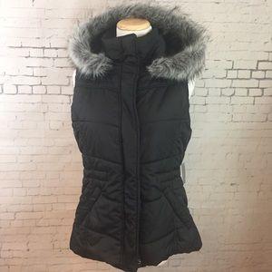NY&C Faux Fur Hooded Vest Sz S